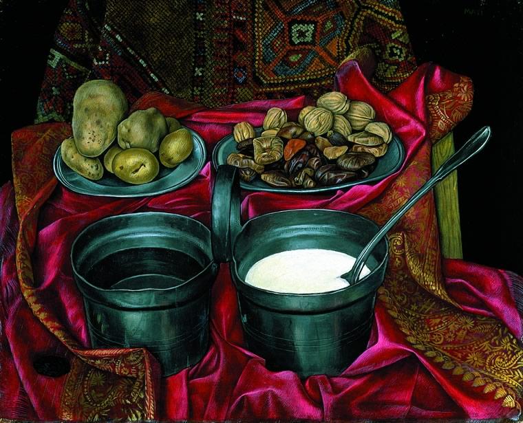 Still Life with Milk and Water - painting by Mati Klarwein - 1956